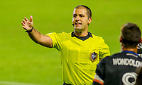 CARSON, CA - OCTOBER 14: Referee Alex Chilowicz giving directions during a game between San Jose Earthquakes and Los Angeles Galaxy at Dignity Heath Sports Park on October 14, 2020 in Carson, California.