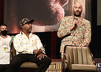 LAS VEGAS, NV - OCTOBER 6:  Sugar Hill Steward and Tyson Fury at the  press conference at the MGM Grand Garden Arena on October 6, 2021 for their upcoming Fox Sports PBC pay-per-view fight in Las Vegas, Nevada. The Fury vs Wilder III pay-per-view fight will be on Saturday, October 9 at T-Mobile Arena in Las Vegas. (Photo by Scott Kirkland/Fox Sports/PictureGroup)