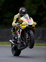 Josh Brookes (25) of Anvil Hire Tag Yamaha pulls a wheelie at the end of practice in the MCE BRITISH SUPERBIKE Championships 2017 at Brands Hatch, Longfield, England on 13 October 2017. Photo by Alan  Stanford / PRiME Media Images.