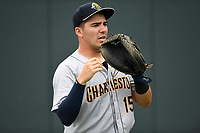 Catcher Donny Sands (15) of the Charleston RiverDogs warms up before a game against the Greenville Drive on Friday, July 28, 2017, at Fluor Field at the West End in Greenville, South Carolina. Charleston won, 6-1. (Tom Priddy/Four Seam Images)