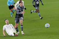 ST PAUL, MN - OCTOBER 28: Aaron Schoenfeld #12 of Minnesota United FC goes after the ball during a game between Colorado Rapids and Minnesota United FC at Allianz Field on October 28, 2020 in St Paul, Minnesota.