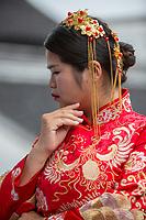 Suzhou, Jiangsu, China.  Young Woman Dressed for her Wedding Celebration.