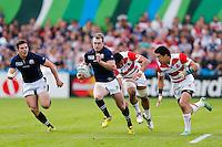 Scotland Full Back Stuart Hogg breaks to set up a try for Outside Centre Mark Bennett - Mandatory byline: Rogan Thomson - 23/09/2015 - RUGBY UNION - Kingsholm Stadium - Gloucester, England - Scotland v Japan - Rugby World Cup 2015 Pool B.