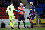 St Johnstone v Ross County…..29.12.19   McDiarmid Park   SPFL<br />Referee Bobby Madden awards a free kick for time wasting against Nathan Baxter but stopped Stevie May from taking it quickly<br />Picture by Graeme Hart.<br />Copyright Perthshire Picture Agency<br />Tel: 01738 623350  Mobile: 07990 594431