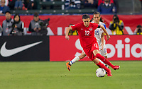 CARSON, CA - FEBRUARY 07: Christine Sinclair #12 of Canada moves with the ball during a game between Canada and Costa Rica at Dignity Health Sports Complex on February 07, 2020 in Carson, California.