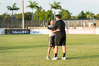 Bradenton, FL - Sunday, June 12, 2018: Monica Vergara, Mark Carr during a U-17 Women's Championship Finals match between USA and Mexico at IMG Academy.  USA defeated Mexico 3-2 to win the championship.