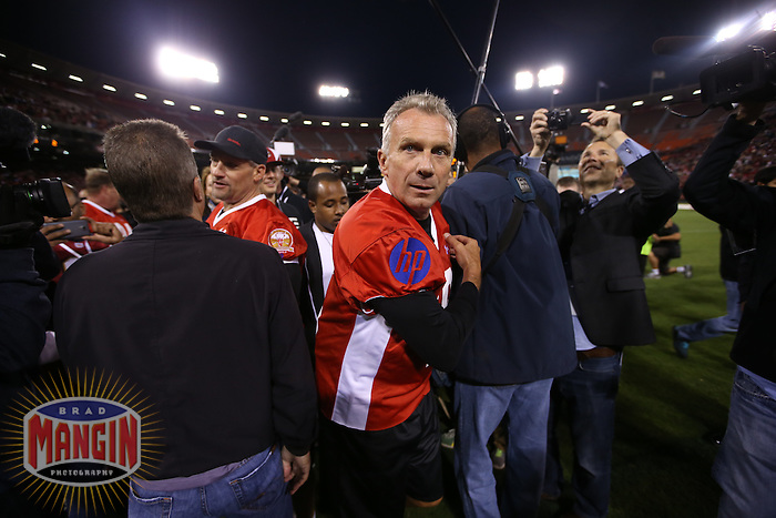SAN FRANCISCO, CA - JULY 12:  Former San Francisco 49ers great Joe Montana leaves the field after the Legends of Candlestick flag football game at Candlestick Park in San Francisco, California on July 12, 2014. Photo by Brad Mangin
