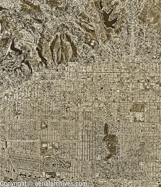 historical aerial photograph Hollywood, Los Angeles County, California, 1994