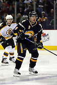 February 17th 2007:  Derek Roy (9) of the Buffalo Sabres looks for the puck vs. the Boston Bruins at HSBC Arena in Buffalo, NY.  The Bruins defeated the Sabres 4-3 in a shootout.