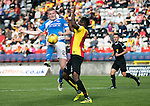 Partick Thistle v St Johnstone…10.09.16..  Firhill  SPFL<br />Brian Easton is blocked by Abdul Osman<br />Picture by Graeme Hart.<br />Copyright Perthshire Picture Agency<br />Tel: 01738 623350  Mobile: 07990 594431