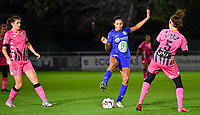 Jolet Lommen (9 Gent) pictured in between Noemie Fourdin (11 Charleroi) and Ines Dhaou (5 Charleroi) during a female soccer game between  AA Gent Ladies and Sporting Charleroi Feminin on the fifth matchday of the 2020 - 2021 season of Belgian Scooore Womens Super League , friday 16 th of October 2020  in Oostakker , Belgium . PHOTO SPORTPIX.BE | SPP | DAVID CATRY