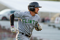Clinton LumberKings first baseman Dalton Kelly (7) races to first during a Midwest League game against the Wisconsin Timber Rattlers on May 9th, 2016 at Fox Cities Stadium in Appleton, Wisconsin.  Clinton defeated Wisconsin 6-3. (Brad Krause/Four Seam Images)