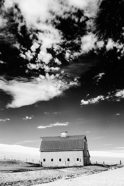 Black and white infrared image of barn in the Palouse farm country of southeastern Washington