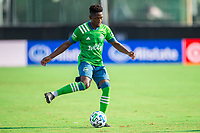 LAKE BUENA VISTA, FL - JULY 14: Kelvin Leerdam #18 of the Seattle Sounders passes the ball during a game between Seattle Sounders FC and Chicago Fire at Wide World of Sports on July 14, 2020 in Lake Buena Vista, Florida.