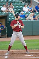 Frank Schwindel (18) of the Idaho Falls Chukars at bat against the Ogden Raptors at Lindquist Field on September 5, 2013 in Ogden Utah.  (Stephen Smith/Four Seam Images)