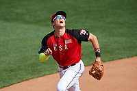 Team USA third baseman Richie Shaffer (8) tracks a foul ball popup during the MLB All-Star Futures Game on July 12, 2015 at Great American Ball Park in Cincinnati, Ohio.  (Mike Janes/Four Seam Images)