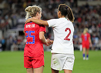 Saint Paul, MN - SEPTEMBER 03:  Mónica Mendes #2 of Portugal and Kristen Hamilton #25 of the United States during their 2019 Victory Tour match versus Portugal at Allianz Field, on September 03, 2019 in Saint Paul, Minnesota.