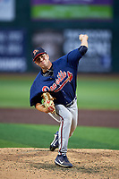 Danville Braves relief pitcher Zach Guth (18) delivers a pitch during a game against the Johnson City Cardinals on July 28, 2018 at TVA Credit Union Ballpark in Johnson City, Tennessee.  Danville defeated Johnson City 7-4.  (Mike Janes/Four Seam Images)