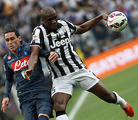 Calcio, Serie A: Juventus vs Napoli. Torino, Juventus Stadium, 23 maggio 2015. <br /> Napoli's Jose' Maria Callejon, left, and Juventus' Angelo Ogbonna fight for the ball during the Italian Serie A football match between Juventus and Napoli at Turin's Juventus Stadium, 23 May 2015.<br /> UPDATE IMAGES PRESS/Isabella Bonotto