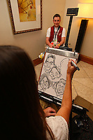 8 April 2008: Stanford Cardinal band member is drawn during Stanford's send off party before their 64-48 loss against the Tennessee Lady Volunteers in the 2008 NCAA Division I Women's Basketball Final Four championship game at the St. Pete Times Forum Arena in Tampa Bay, FL.