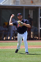 AZL Indians Blue relief pitcher Eric Mock (52) throws to first base during an Arizona League game against the AZL Indians Red on July 7, 2019 at the Cleveland Indians Spring Training Complex in Goodyear, Arizona. The AZL Indians Blue defeated the AZL Indians Red 5-4. (Zachary Lucy/Four Seam Images)