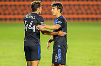 CARSON, CA - OCTOBER 14: Shea Salinas #6 and team mate Cade Cowell #44 of the San Jose Earthquakes during a game between San Jose Earthquakes and Los Angeles Galaxy at Dignity Heath Sports Park on October 14, 2020 in Carson, California.
