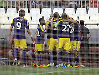 Valencia, Spain. Thursday 19 September 2013<br /> Pictured: Swansea players celebrating.<br /> Re: UEFA Europa League game against Valencia C.F v Swansea City FC, at the Estadio Mestalla, Spain,