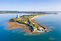 France, Manche, Cotentin, Val de Saire, Saint Vaast la Hougue, Pointe de la Hougue, Fort de la Hougue and Tour Vauban listed as World Heritage by UNESCO (aerial view) // France, Manche (50), Cotentin, Val de Saire, Saint-Vaast-la-Hougue, pointe de la Hougue, fort de la Hougue et tour Vauban classée au patrimoine Mondial de l'UNESCO (vue aérienne)
