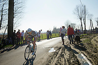 Guillaume Van Keirsbulck (BEL) pulling loose from the peloton on top of the Ruidenberg and making jump to the lead group<br /> <br /> 3 Days of West-Flanders<br /> stage 2: Nieuwpoort - Ichtegem 186km