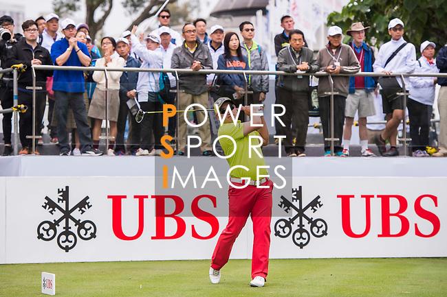 Angelo Que of Philippines tees off during the day four of UBS Hong Kong Open 2017 at the Hong Kong Golf Club on 26 November 2017, in Hong Kong, Hong Kong. Photo by Marcio Rodrigo Machado / Power Sport Images
