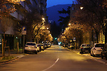 22/03/2020 in Trento, Italy. Most part of Europe is today on a sweeping confinement to try to slow down the spread of the Covid-19 Pandemic. Empty streets of Trento City before the nightfall.