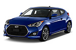 2017 Hyundai Veloster Turbo-Manual 5 Door Hatchback Angular Front stock photos of front three quarter view