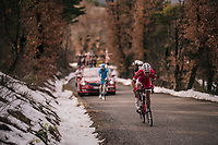 Nicolas Edet (FRA/Cofidis) charges up the last climb where snow is still present<br /> <br /> 76th Paris-Nice 2018<br /> stage 5: Salon-de-Provence > Sisteron (165km)