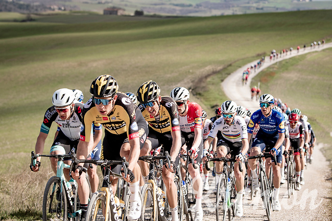 defending champion Wout van Aert (BEL/Jumbo-Visma) at the front of the peloton<br /> <br /> 15th Strade Bianche 2021<br /> ME (1.UWT)<br /> 1 day race from Siena to Siena (ITA/184km)<br /> <br /> ©kramon