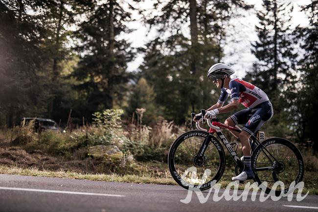 Kenny Elissonde (FRA/Trek-Segafredo) on the steep parts of the individual time trial up the infamous Planche des Belles Filles<br /> <br /> Stage 20 (ITT) from Lure to La Planche des Belles Filles (36.2km)<br /> <br /> 107th Tour de France 2020 (2.UWT)<br /> (the 'postponed edition' held in september)<br /> <br /> ©kramon