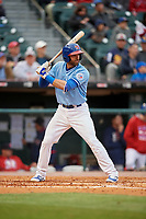 Buffalo Bisons second baseman Jason Leblebijian (9) bats during a game against the Pawtucket Red Sox on May 19, 2017 at Coca-Cola Field in Buffalo, New York.  Buffalo defeated Pawtucket 7-5 in thirteen innings.  (Mike Janes/Four Seam Images)