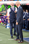 Real Madrid's coach Zinedine Zidane and Fiorentina's /coach Stefano Pioli during XXXVIII Santiago Bernabeu Trophy at Santiago Bernabeu Stadium in Madrid, Spain August 23, 2017. (ALTERPHOTOS/Borja B.Hojas)