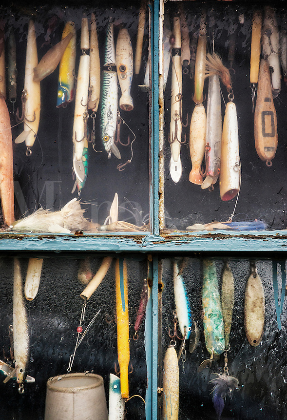 Hooks and lures in a fishing shack window, Menemsha, Chilmark, Martha's Vineyard, Massachusetts, USA