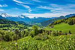 Deutschland, Bayern, Berchtesgadener Land, bei Oberau (Berchtesgaden): Blick ueber Berchtesgaden in die Berchtesgadener Alpen mit Watzmann (links) 2.713 m und Hochkalter 2.607 m (Mitte) und Reiter Alpe - auch Reiter Alm genannt | Germany, Upper Bavaria, Berchtesgadener Land; near Oberau (Berchtesgaden): view across Berchtesgaden towards Berchtesgaden Alps with summits Watzmann 2.713 m (left) and Hochkalter 2.607 m (middle) and Reiter Alpe mountain range, also called Reiter Alm