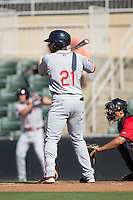 Kyri Washington (21) of the Greenville Drive at bat against the Kannapolis Intimidators at Intimidators Stadium on June 7, 2016 in Kannapolis, North Carolina.  The Drive defeated the Intimidators 4-1 in game one of a double header.  (Brian Westerholt/Four Seam Images)