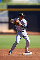 Mesa Solar Sox Yu-Cheng Chang (13), of the Cleveland Indians organization, during a game against the Peoria Javelinas on October 19, 2016 at Peoria Stadium in Peoria, Arizona.  Peoria defeated Mesa 2-1.  (Mike Janes/Four Seam Images)