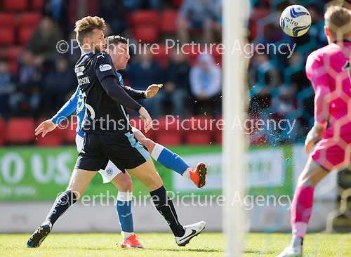 St Johnstone v Dundee....11.04.15   SPFL<br /> Michael O'Halloran puts the ball over the bar<br /> Picture by Graeme Hart.<br /> Copyright Perthshire Picture Agency<br /> Tel: 01738 623350  Mobile: 07990 594431