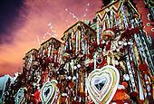 Rio de Janeiro, Brazil. Carnival; Portela samba school float with red and white costumes. Sapucai sambadrome at dawn.