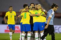 17th November 2020; Centenario Stadium, Montevideo, Uruguay; Qatar 2022 qualifiers; Uruguay versus Brazil; Players of Brazil celebrate their goal scored by Arthur in the 34th minute 0-1