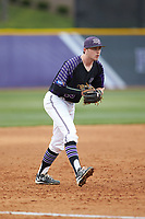 High Point Panthers third baseman Nick Niarchos (19) on defense against the North Carolina Central Eagles at Williard Stadium on February 28, 2017 in High Point, North Carolina. The Eagles defeated the Panthers 11-5. (Brian Westerholt/Four Seam Images)