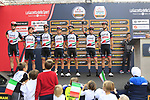 UAE Team Emirates at sign on before the start of the 99th edition of Milan-Turin 2018, running 200km from Magenta Milan to Superga Basilica Turin, Italy. 10th October 2018.<br /> Picture: Eoin Clarke | Cyclefile<br /> <br /> <br /> All photos usage must carry mandatory copyright credit (© Cyclefile | Eoin Clarke)