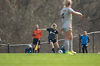 LOUISVILLE, KY - MARCH 13: Emina Ekic #13 of Racing Louisville FC passes the ball during a game between West Virginia University and Racing Louisville FC at Thurman Hutchins Park on March 13, 2021 in Louisville, Kentucky.