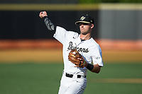Wake Forest Demon Deacons second baseman Jake Mueller (6) warms up in the outfield prior to the game against the West Virginia Mountaineers in Game Four of the Winston-Salem Regional in the 2017 College World Series at David F. Couch Ballpark on June 3, 2017 in Winston-Salem, North Carolina.  The Demon Deacons walked-off the Mountaineers 4-3.  (Brian Westerholt/Four Seam Images)
