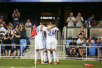 SAN JOSE, CA - JULY 27: Shea Salinas goal celebration during a Major League Soccer (MLS) match between the San Jose Earthquakes and the Colorado Rapids on July 27, 2019 at Avaya Stadium in San Jose, California.