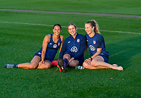 ORLANDO, FL - JANUARY 21: Lynn Williams #6, Abby Dahlkemper #7 and Samantha Mewis #3 of the USWNT pose for a photo after a training session at the practice fields on January 21, 2021 in Orlando, Florida.